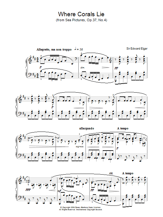 Where Corals Lie (from Sea Pictures, Op.37, No.4) (Piano Solo)