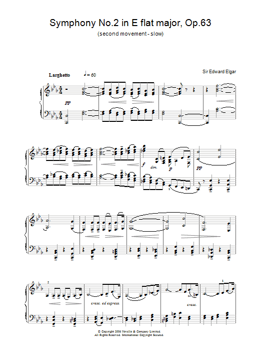 Symphony No.2 In E Flat Major, Op.63 (second movement - slow) (Piano Solo)