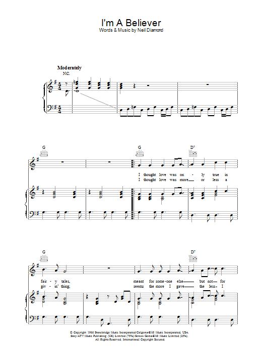 I'm A Believer (Piano, Vocal & Guitar)