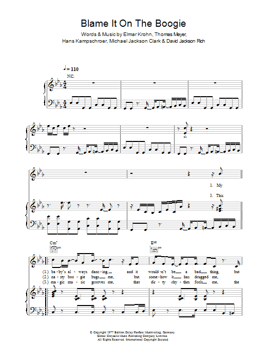 blame it on the boogie free sheet music