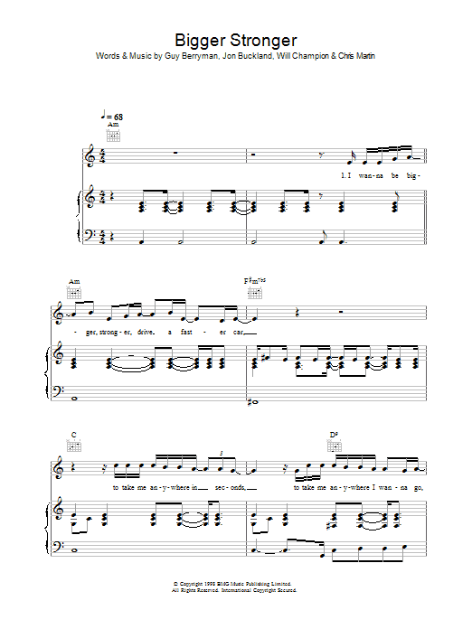 Bigger Stronger (Piano, Vocal & Guitar)