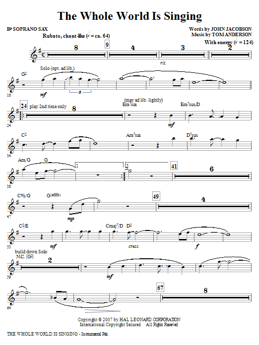 The Whole World Is Singing (complete set of parts) sheet music for orchestra/band (chamber ensemble) by John Jacobson and Tom Anderson. Score Image Preview.