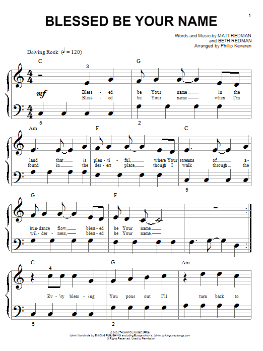 Blessed Be Your Name (Big Note Piano)