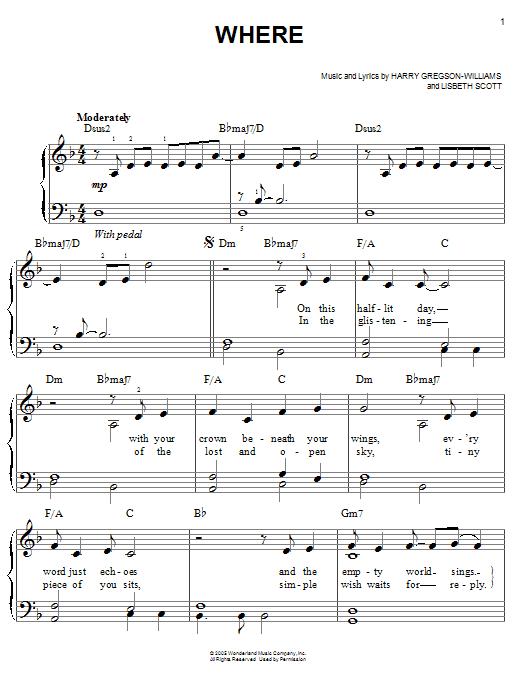 Partition piano Where de Harry Gregson-Williams - Piano Facile