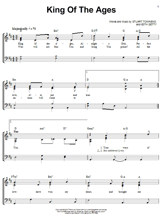 King Of The Ages (Piano, Vocal & Guitar (Right-Hand Melody))