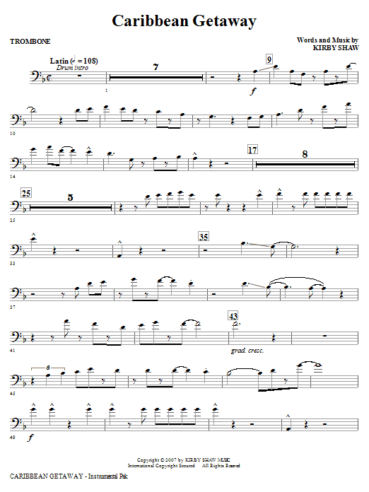 Caribbean Getaway - Trombone Sheet Music