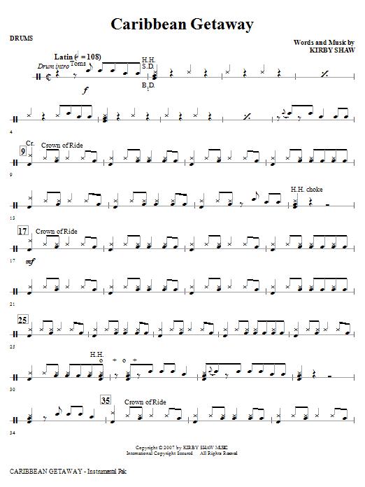 Caribbean Getaway - Drums (Choir Instrumental Pak)