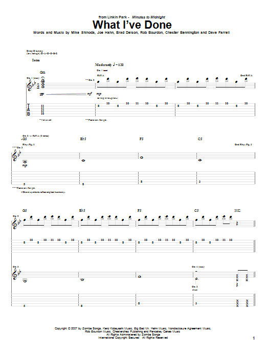 Tablature guitare What I've Done de Linkin Park - Tablature Guitare