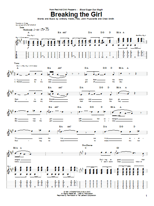 Tablature guitare Breaking The Girl de Red Hot Chili Peppers - Tablature Guitare