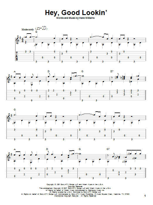 Tablature guitare Hey, Good Lookin' de Hank Williams - Tablature Guitare