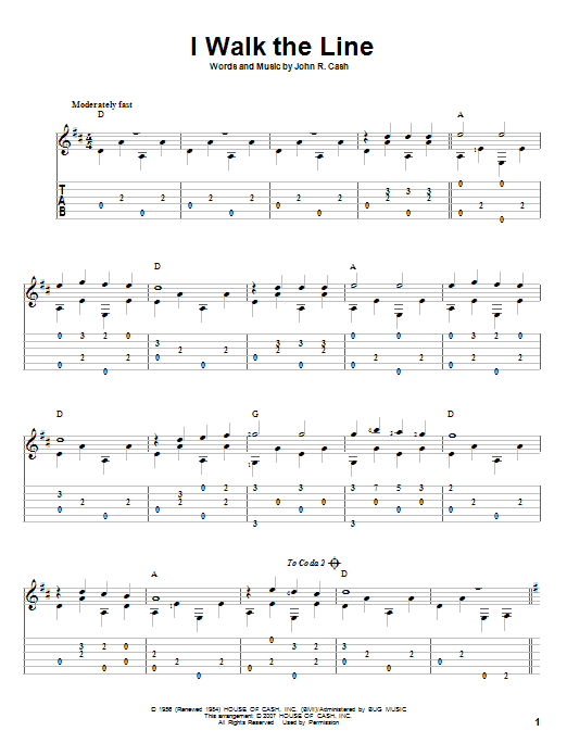 Tablature guitare I Walk The Line de Johnny Cash - Tablature Guitare