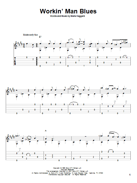 Workin' Man Blues Sheet Music