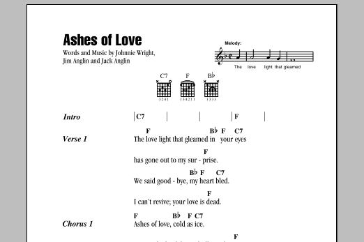 Ashes Of Love Sheet Music