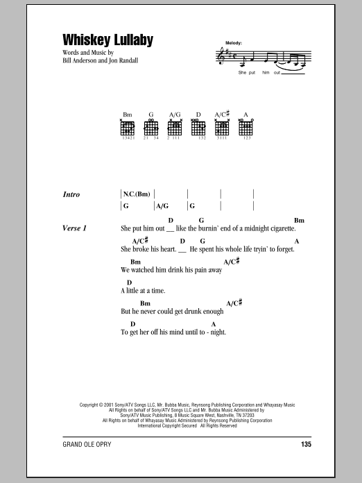 Whiskey Lullaby sheet music by Brad Paisley (Lyrics & Chords – 80129)
