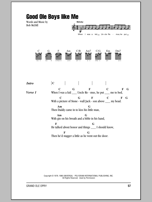Good Ole Boys Like Me (Guitar Chords/Lyrics)