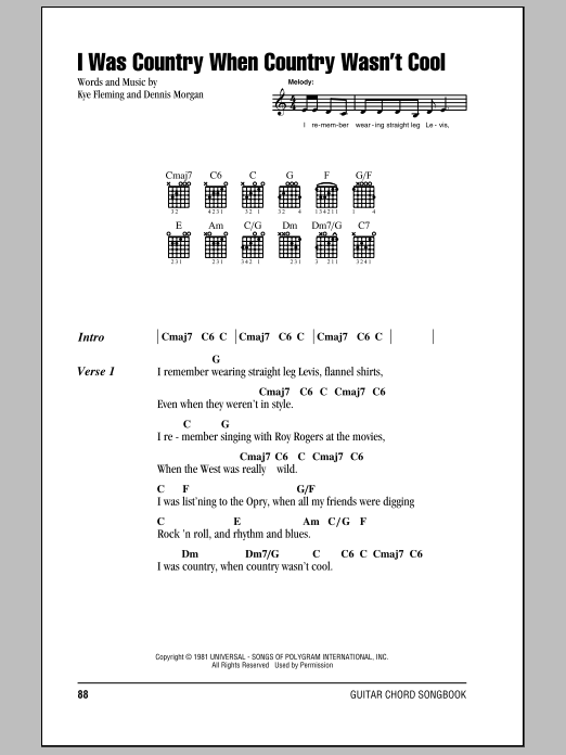 I Was Country When Country Wasn't Cool Sheet Music