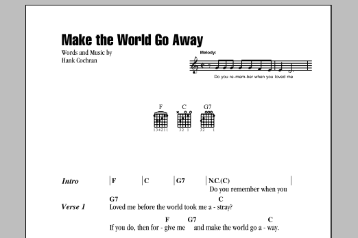 Make The World Go Away Sheet Music