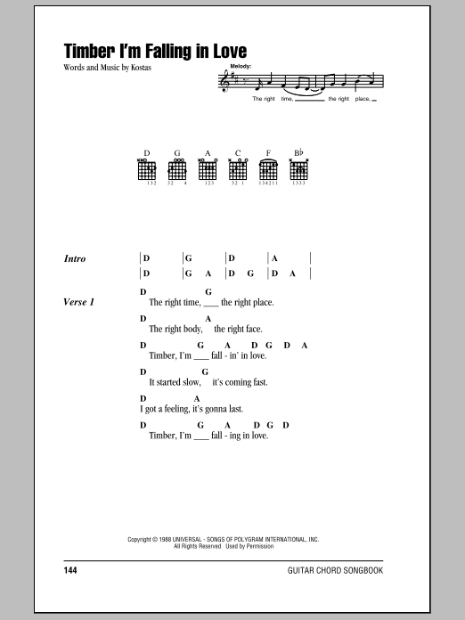 Timber I'm Falling In Love Sheet Music