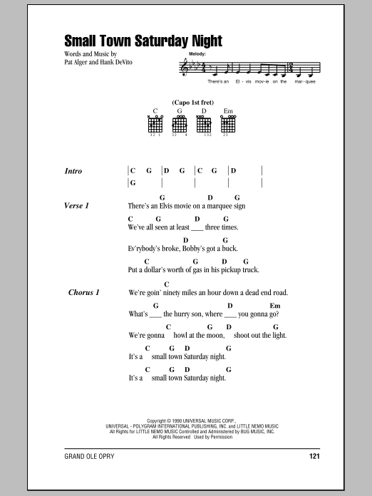 Small Town Saturday Night Sheet Music