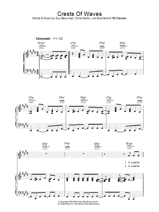Crests Of Waves (Piano, Vocal & Guitar)