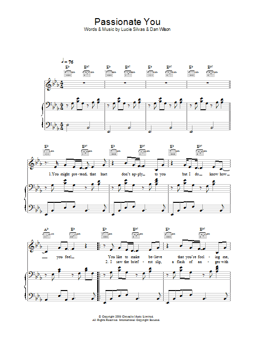 Passionate You Sheet Music