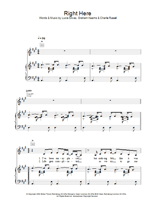 Right Here Sheet Music