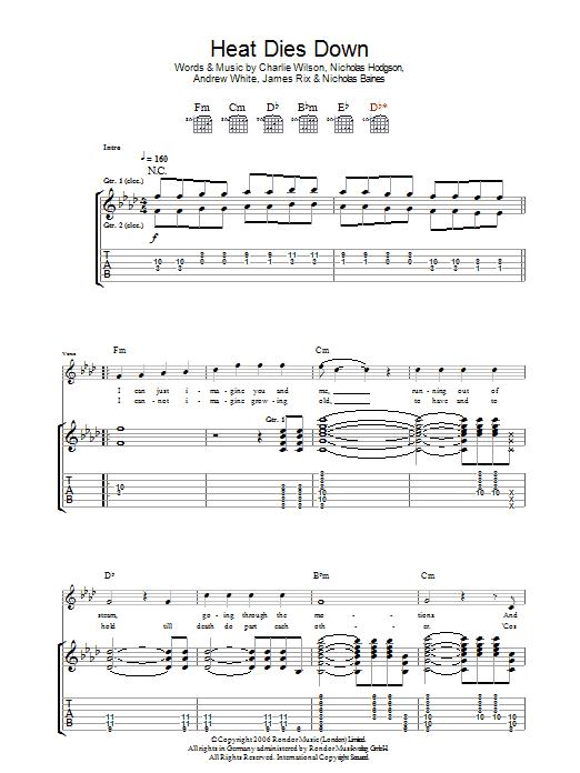 Heat Dies Down (Guitar Tab)