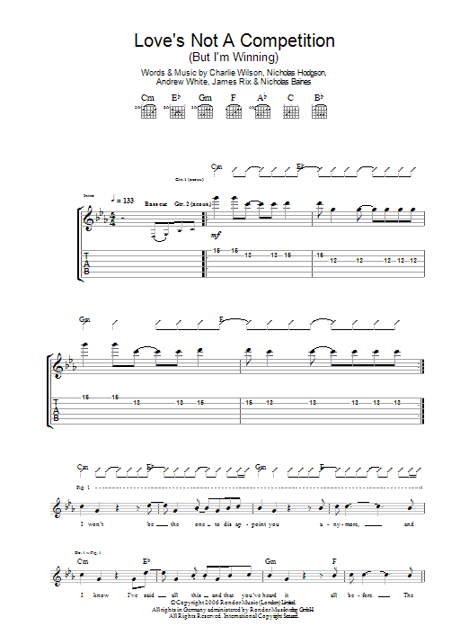 Love's Not A Competition (But I'm Winning) (Guitar Tab)