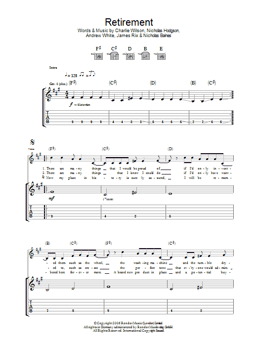 Retirement (Guitar Tab)