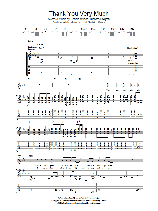 Thank You Very Much (Guitar Tab)