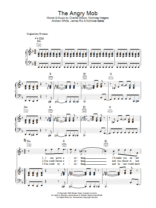 The Angry Mob (Piano, Vocal & Guitar)