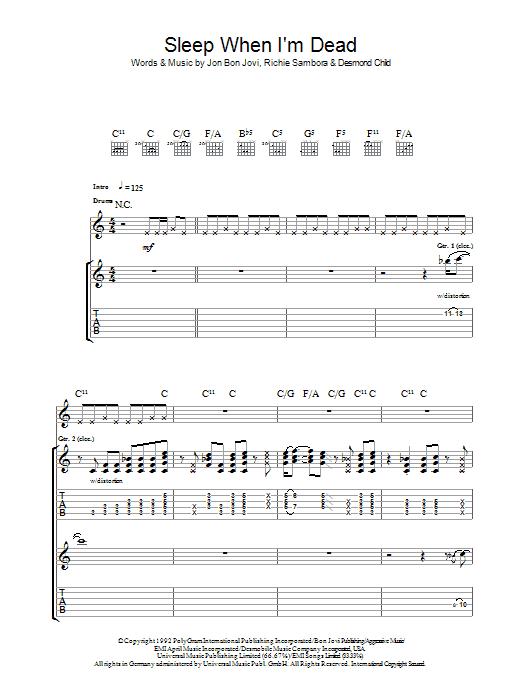 I'll Sleep When I'm Dead Sheet Music