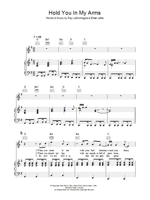 Hold You In My Arms Sheet Music