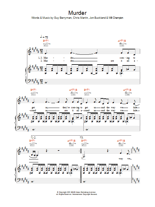 Murder (Piano, Vocal & Guitar)