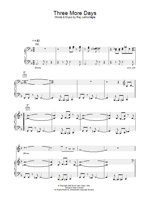 Three More Days (Piano, Vocal & Guitar)