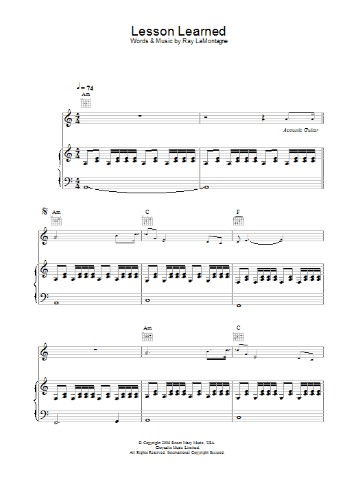 Lesson Learned Sheet Music