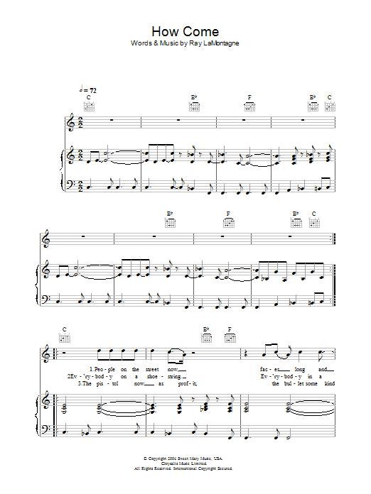 How Come (Piano, Vocal & Guitar)