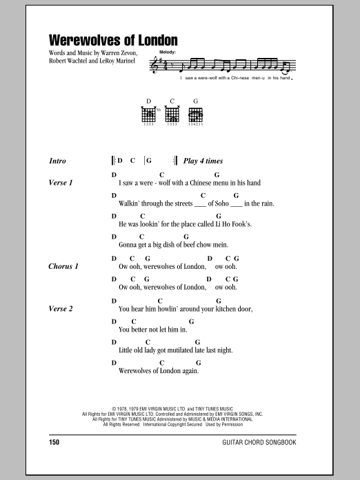 Werewolves Of London Sheet Music