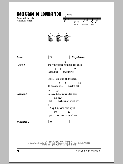 Bad Case Of Loving You by Robert Palmer - Guitar Chords/Lyrics ...
