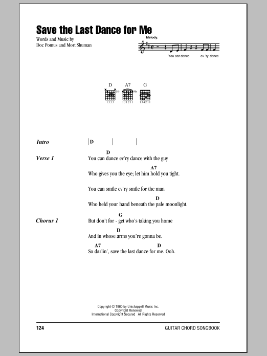 Save The Last Dance For Me (Guitar Chords/Lyrics)