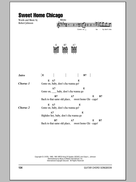 Sweet Home Chicago (Guitar Chords/Lyrics)