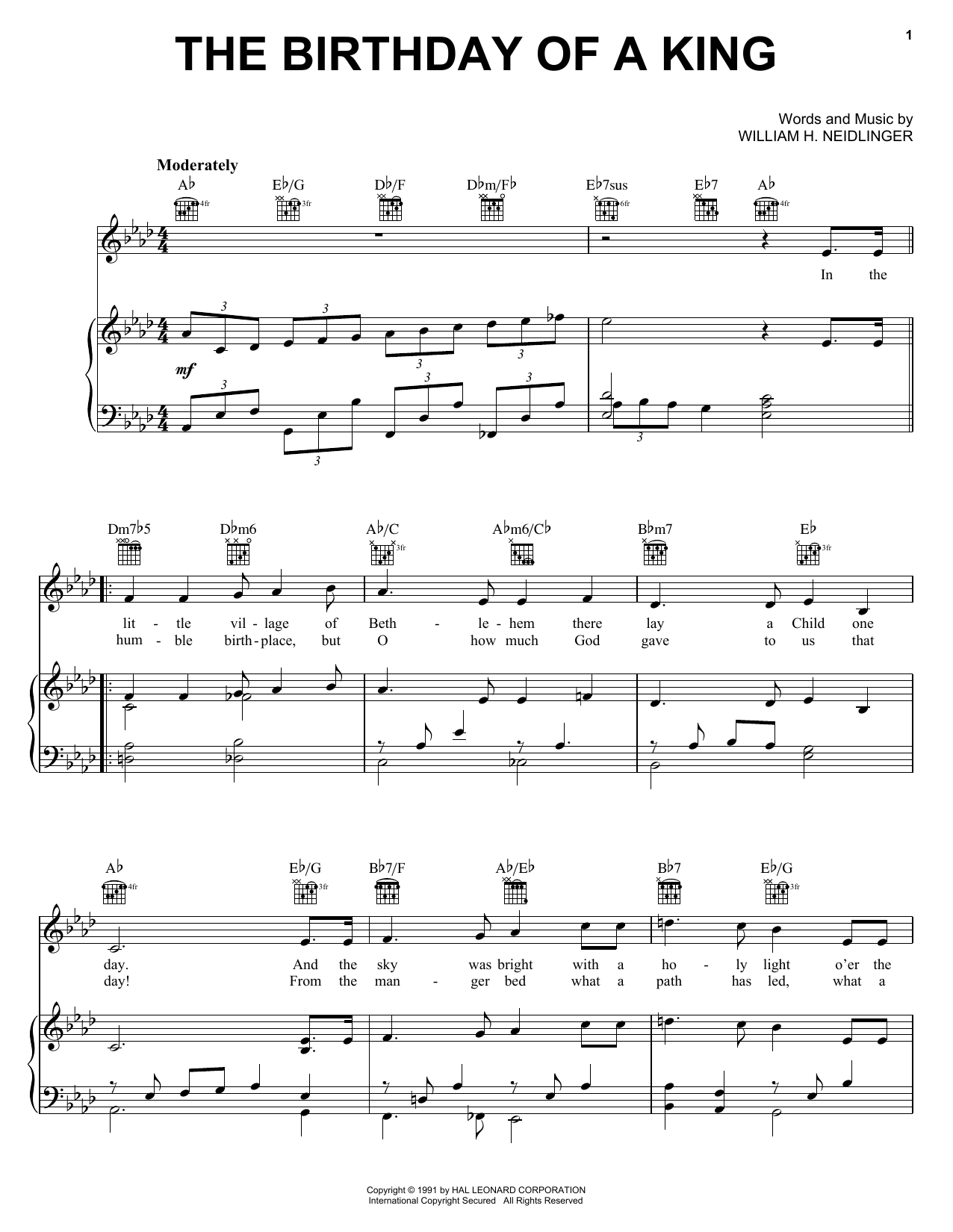 The Birthday of a King (Neidlinger) Sheet Music