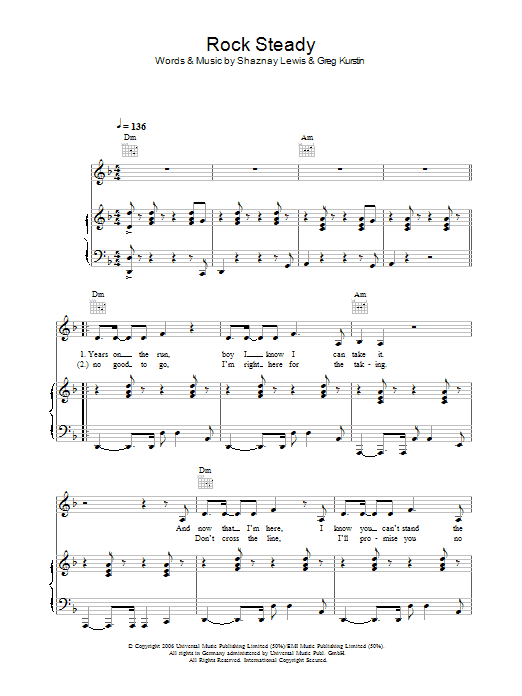 Rock Steady (Piano, Vocal & Guitar)