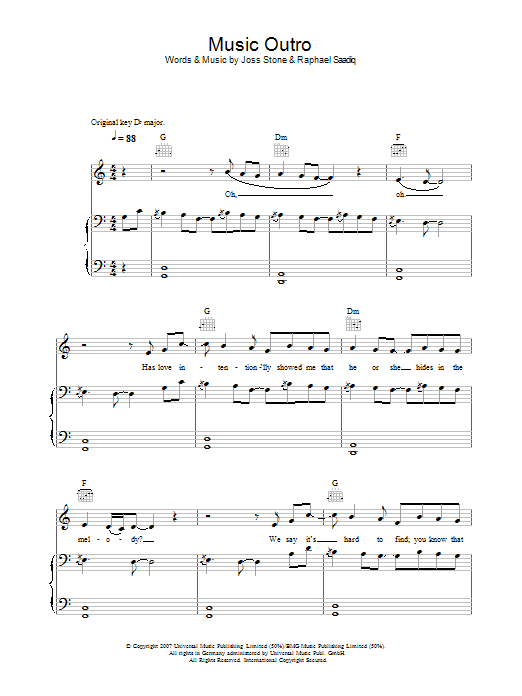 Music (Outro) Sheet Music