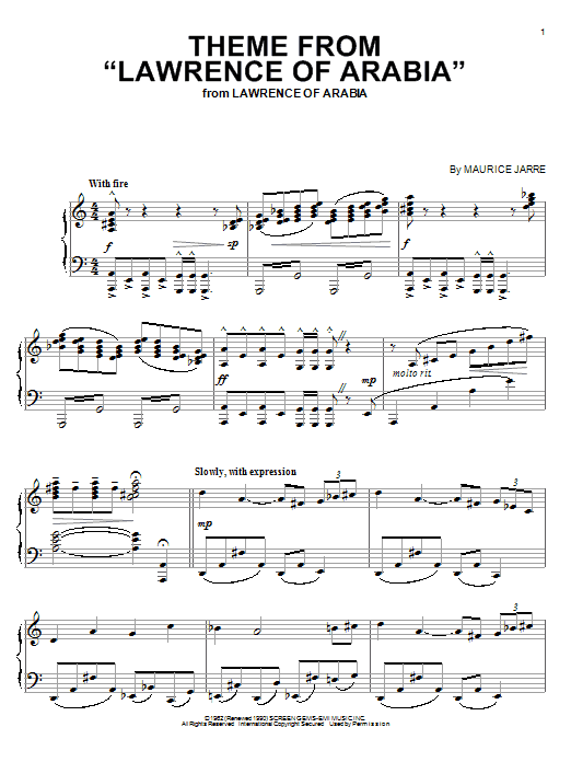 Theme From Lawrence Of Arabia Sheet Music