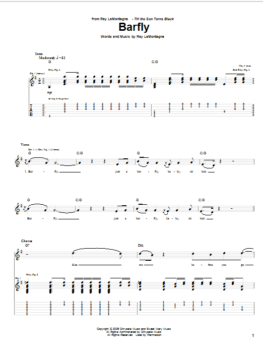 Tablature guitare Barfly de Ray LaMontagne - Tablature Guitare