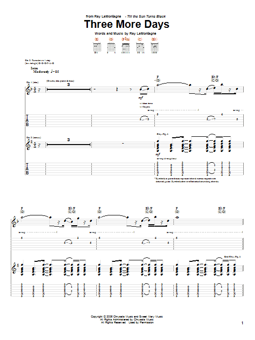 Tablature guitare Three More Days de Ray LaMontagne - Tablature Guitare