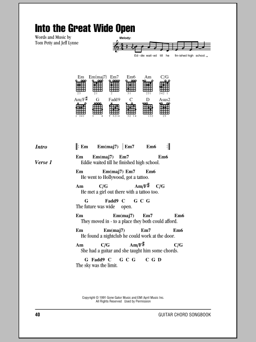 Into The Great Wide Open Sheet Music