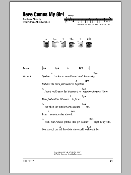 Here Comes My Girl sheet music by Tom Petty And The Heartbreakers ...