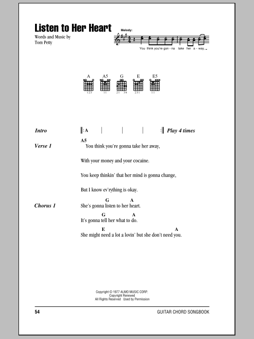 Listen To Her Heart Sheet Music